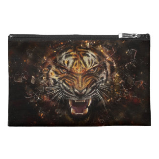 Angry Tiger Breaking Glass Yelow Travel Accessory Bag