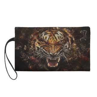 Angry Tiger Breaking Glass Yelow Wristlets