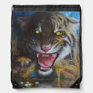 Angry tiger drawstring bag