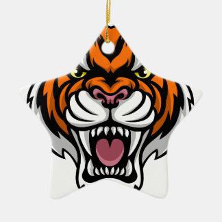 Angry Tiger Mascot Christmas Ornament
