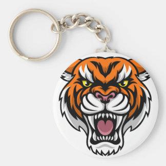 Angry Tiger Mascot Key Ring