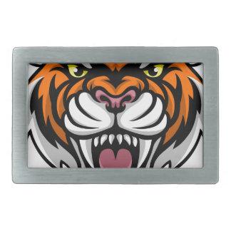 Angry Tiger Mascot Rectangular Belt Buckles