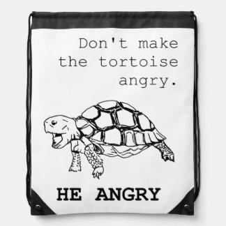 Angry Tortoise - black ink version Drawstring Bag