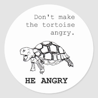 Angry Tortoise Drawing Classic Round Sticker