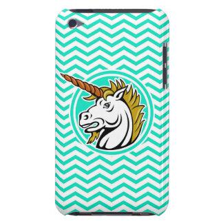 Angry Unicorn; Aqua Green Chevron Case-Mate iPod Touch Case