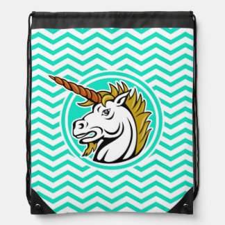 Angry Unicorn; Aqua Green Chevron Drawstring Bag