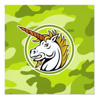 Angry Unicorn; bright green camo, camouflage 13 Cm X 13 Cm Square Invitation Card