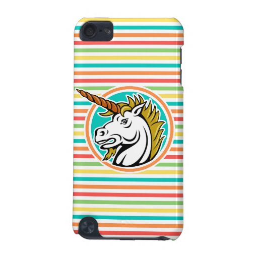 Angry Unicorn, Bright Rainbow Stripes iPod Touch 5G Case