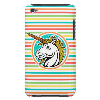 Angry Unicorn, Bright Rainbow Stripes iPod Touch Cover