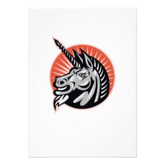 Angry Unicorn Head Retro Woodcut Custom Announcement