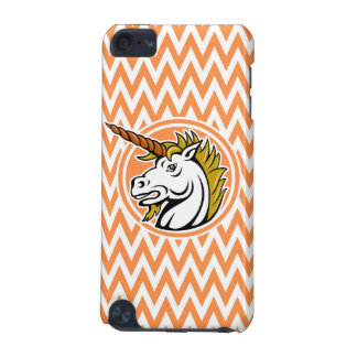 Angry Unicorn; Orange and White Chevron Stripes iPod Touch (5th Generation) Cases
