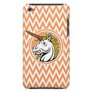 Angry Unicorn; Orange and White Chevron Stripes iPod Case-Mate Case