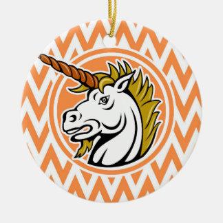 Angry Unicorn Orange and White Chevron Stripes Christmas Ornaments