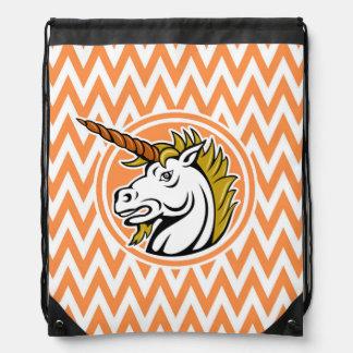 Angry Unicorn Orange and White Chevron Stripes Drawstring Bag
