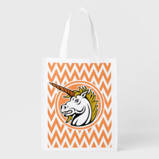 Angry Unicorn Orange and White Chevron Stripes Grocery Bags