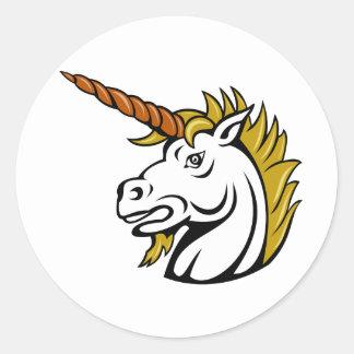 Angry Unicorn Stickers Round Sticker