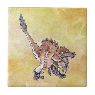 Angry Velociraptor Ceramic Tile