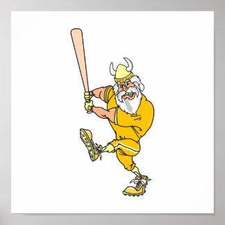 Angry Viking Baseball Player Poster
