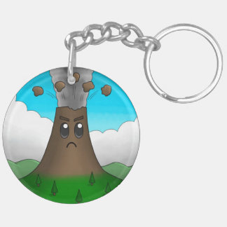 Angry Volcano Double-Sided Round Acrylic Key Ring
