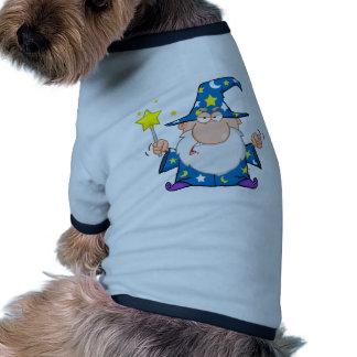 Angry Wizard Waving With Magic Wand Dog Tee