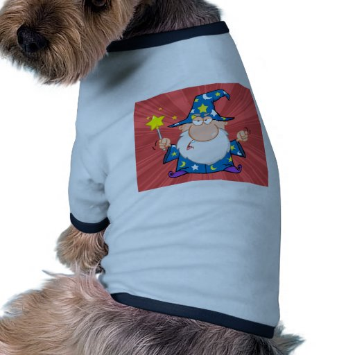 Angry Wizard Waving With Magic Wand Doggie Tshirt