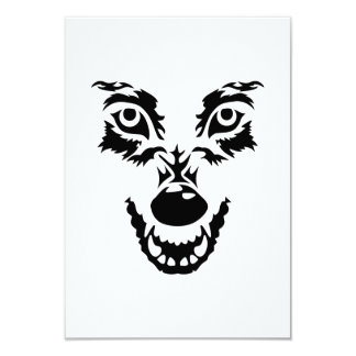 """Angry wolf face 3.5"""" x 5"""" invitation card"""