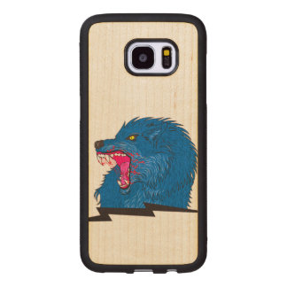 Angry Wolf Illustration Wood Samsung Galaxy S7 Edge Case