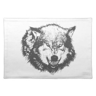 Angry Wolf in Black Placemat