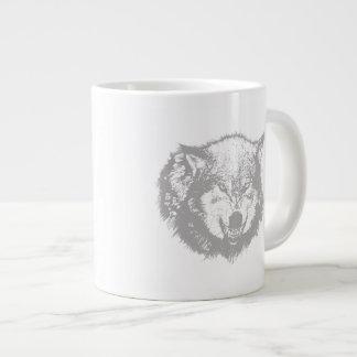 Angry Wolf in Grey Jumbo Mug