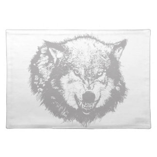 Angry Wolf in Grey Place Mats