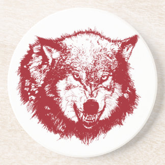 Angry Wolf in Red Beverage Coasters