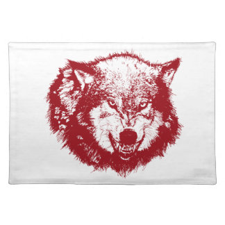 Angry Wolf in Red Place Mat