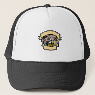 Angry Wolf Pirate Ship Banner Retro Trucker Hat
