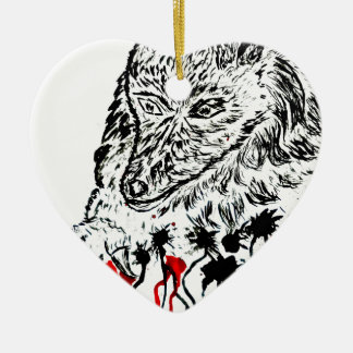 Angry Wolf Sketch2 Ceramic Heart Decoration