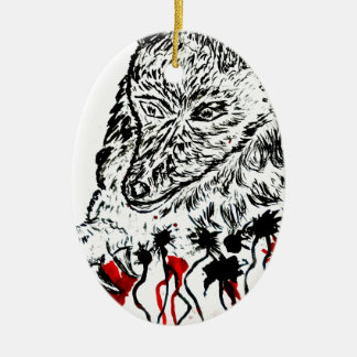 Angry Wolf Sketch2 Ceramic Oval Decoration