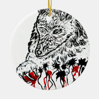 Angry Wolf Sketch2 Round Ceramic Decoration