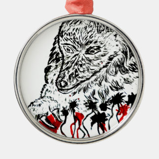 Angry Wolf Sketch2 Silver-Colored Round Decoration