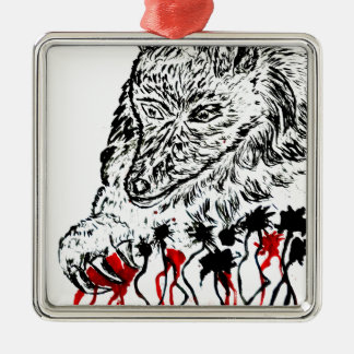 Angry Wolf Sketch2 Silver-Colored Square Decoration