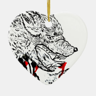 Angry Wolf Sketch Ceramic Heart Decoration
