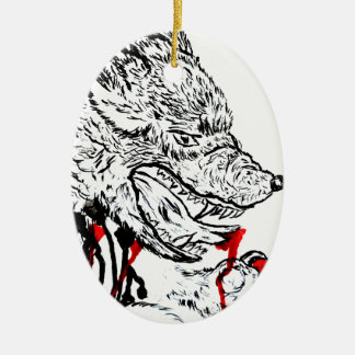 Angry Wolf Sketch Ceramic Oval Decoration