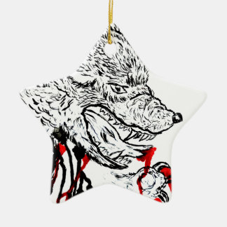 Angry Wolf Sketch Ceramic Star Decoration