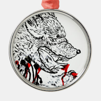 Angry Wolf Sketch Silver-Colored Round Decoration