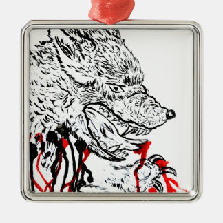 Angry Wolf Sketch Silver-Colored Square Decoration
