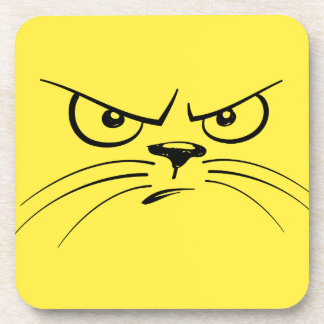 Angry Yellow Kitty Face Beverage Coasters