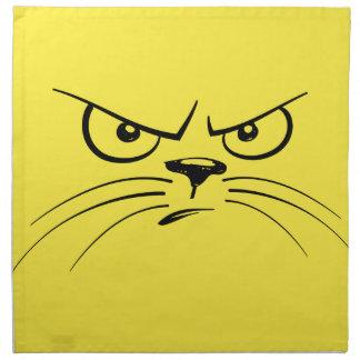 Angry Yellow Kitty Face Napkin