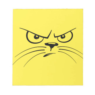 Angry Yellow Kitty Face Notepad