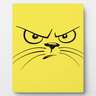 Angry Yellow Kitty Face Plaque