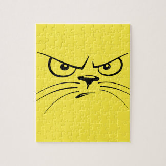 Angry Yellow Kitty Face Puzzles