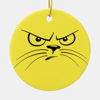 Angry Yellow Kitty Face Round Ceramic Decoration