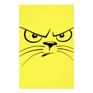 Angry Yellow Kitty Face Stationery